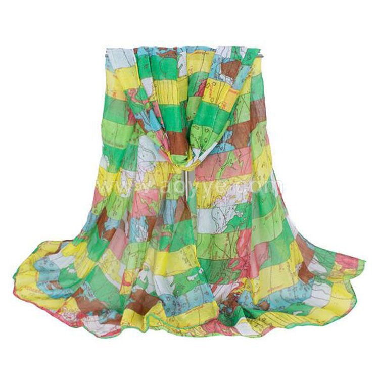 Wholesale new style fashion colorful world map printing yellow silk voile scarf