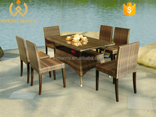 China Modern Outdoor Rattan Rectangle Table And Chair Set