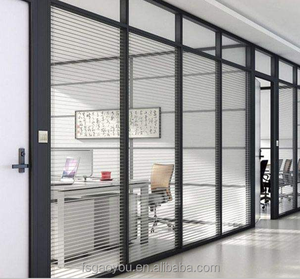 Office glass modular partition aluminum frame glass soundproof partition for office room