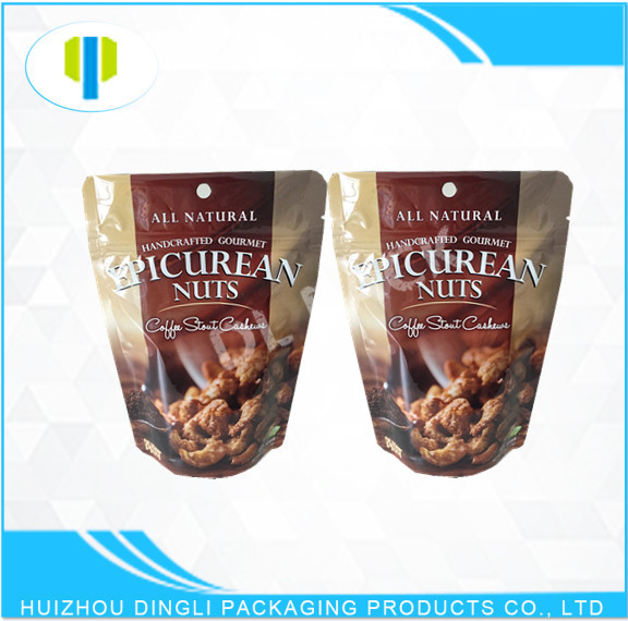 Food grade resealable stand up aluminum foil zipper bag for packaging dried nuts