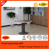 Metal Frame Wooden Desk Top Office Table, Round Meeting table for Office use