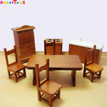 Dolls Dinning-room set wooden toys mini furniture