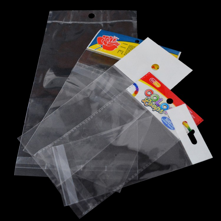 wholesale printing clear opp self adhesive plastic bag with header