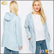 Ecoach Wholesale 2016 Autumn Light blue Zip fastening jacket New maiden archetype long sleeves parka for women with Fixed hood