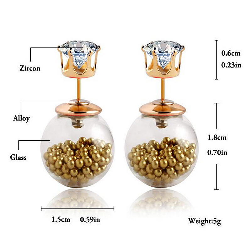 Imitation Brand Jewelry Glass Clear Bulb Crown Crystal Double Sided Stud Earrings