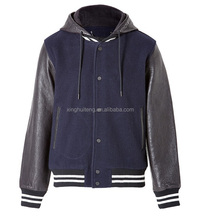 with hood custom polyester cotton varsity jacket with leather sleeves wholesale