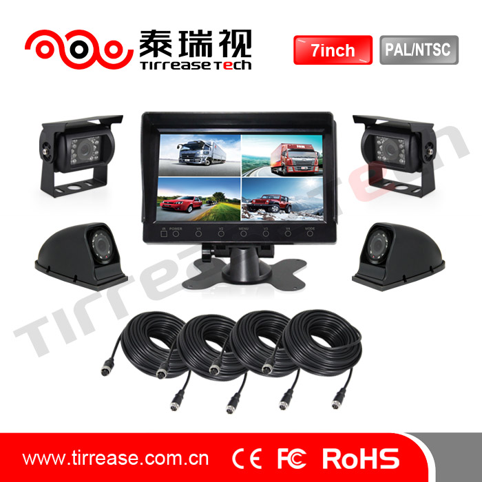 7inch quad camera in car systems/ infared camera for bus and truck