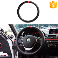 Best Selling 37-38cm Car Accessories Interior Universal Germany Flag Carbon Fiber Leather Steering Wheel Cover Protector Case