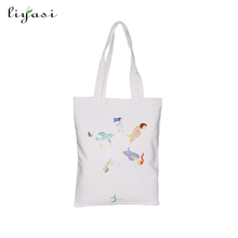 Customized white color cotton bag canvas shopping tote bag