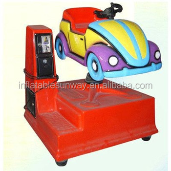 kids playing coin pusher game machine, car shape machine, kids coin pusher game machine