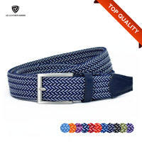 Colorful Elastic Stretch Woven/Braided Belt with Alloy Buckle