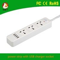 3 way multiple socket outlet 4 USB charging colored power strip