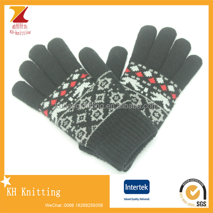 Winter stripe Knitted Jacquard Mens Half Finger acrylic Knit Gloves
