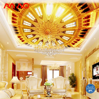 Golden color roof mural wallpaper 3D blue sky ceiling wall paper