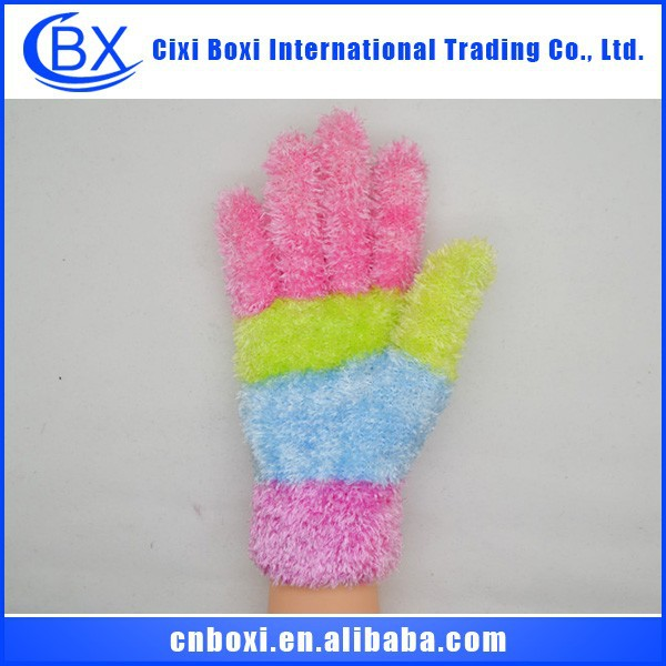 fashion lady wholesale winter pure color feather yarn knit warn gloves