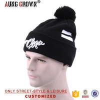 White Embroidery Ski Cap Winter Pom Beanie Cap