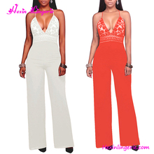2017 harness v neck plus size one piece orange jumpsuit