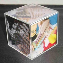Clear Plexiglass 6 Sides Cubic Acrylic Oriental Picture Frame