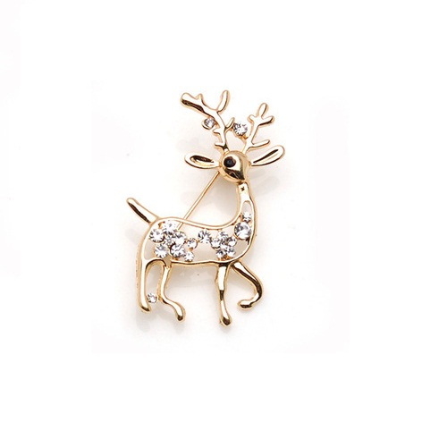 Zinc <strong>alloy</strong> and clear crystal rhinestone deer brooch pin for clothing decoration