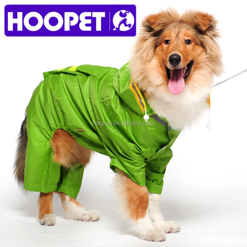 HOOPET large pet dog raincoat with reflective stripes and backbag rain coat dog supplies