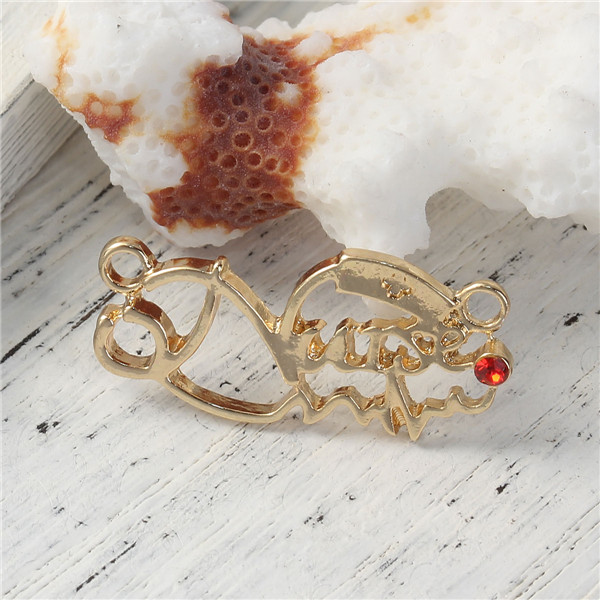 "Zinc Based Alloy Connectors Heartbeat/ Electrocardiogram Message "" Nurse "" Gold Plated Red Rhinestone Charms Jewelry Connector"
