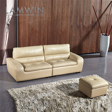 Customized new model 3 seater real leather sofa in living room