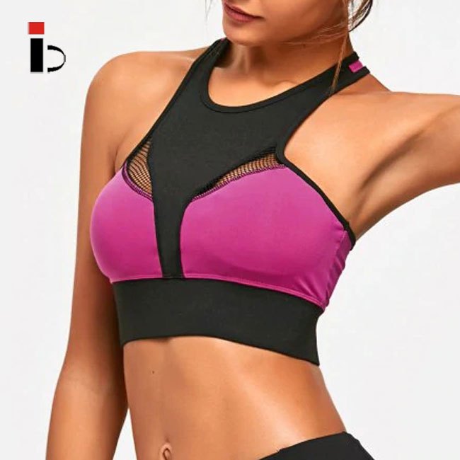 Newest style high neck mesh sports yoga bra for women