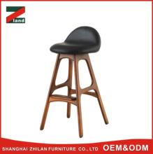 hot selling Vintage style customized industrial design multi-color black leather seat silm leg wooden bar stool