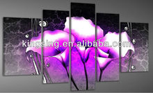 hot selling canvas purple flower oil painting for bar decoration hotel decoration