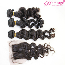Homeage door to door free shipping brazilian hair closure lace frontal hair pieces with bundles