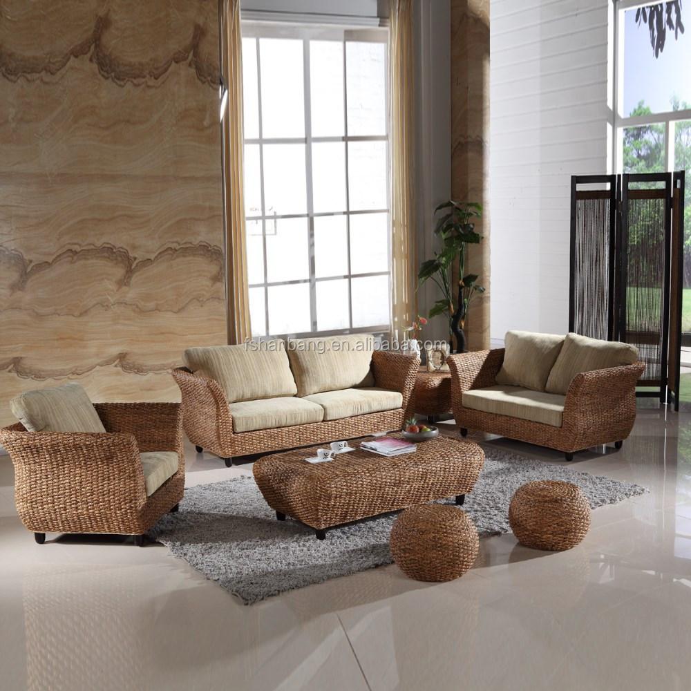 Directe fabrikant moderne zeegras rieten rotan meubelen - Sofas de mimbre ...