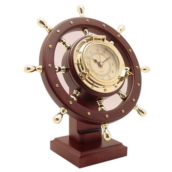 Nautical Ship Wheel Desk Clock