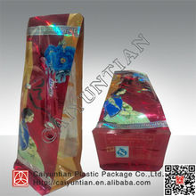 christmas gift plastic packaging bag with square bottom/birthday gift side gusset packaging bag