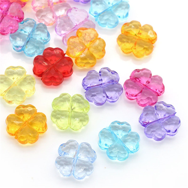 China Wholesale Four Leaf Clover At Random Faceted Acrylic Spacer Beads