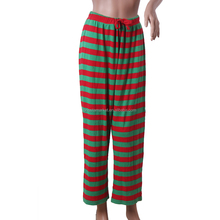 Hot Sale Family Red Green Stripe Christmas Pajama Pants