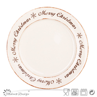 round ceramic Christmas plate for cake