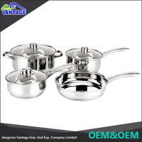7 pcs cookware sets stainless steel cooking pot and frypan with glass lid