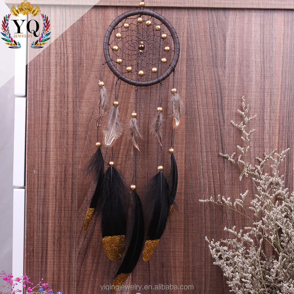 DLX-00005 handmade black feather dream catcher with bead for home decoration