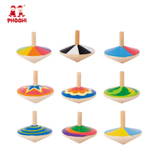 Colorful 9 styles kids spinning top toys children wooden spinning top game