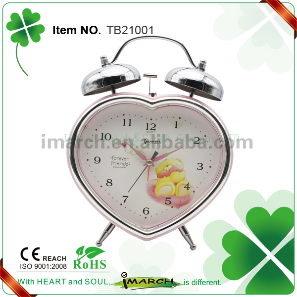 Huge size heart-shaped multicolour metal twin bell table alarm clock