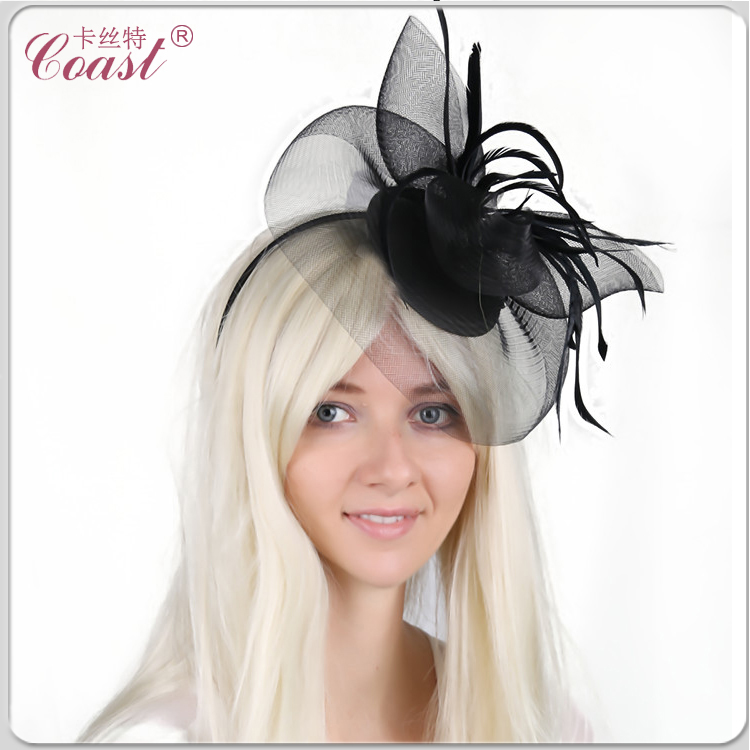 big black wedding bride decor headdress flower