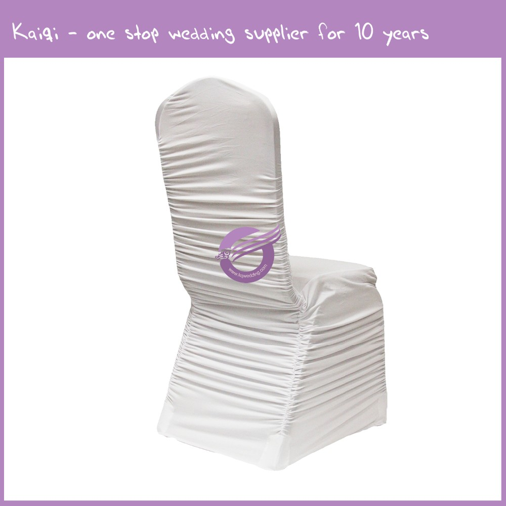 YT09513 white wedding decor wholesale ruched spandex chair covers