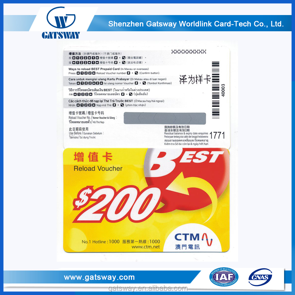 Cheap Offset Printing PVC/paper Scratch prepaid Phone Calling Card