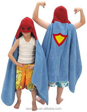 100% cotton embroidered superman thick and soft baby hooded towels