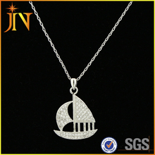 EN0307 JN cute Sail Boat Design With shining Cubic Zirconia Pendant Necklace for women Jewelry