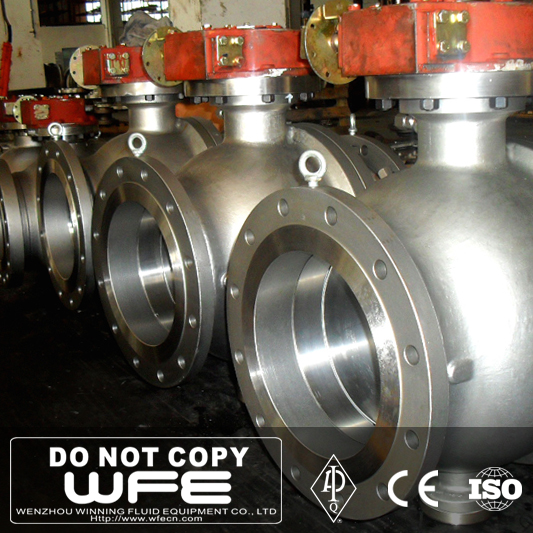 Big Size Dimension A216 WCB Flange Gearbox Trunnion Mounted Ball Valve