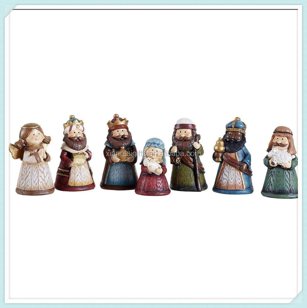 Colorful Kids Christmas Nativity Scene, Set of 7 Rearrangeable Figures