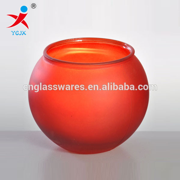 blown red colored frosted glass ball open