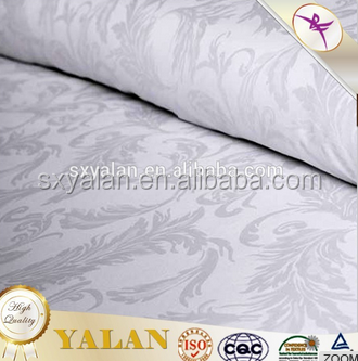 White 100 cotton satin jacquard finish fabric for hotel bedding
