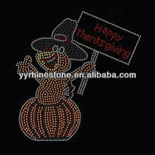 Happy Thanksgiving w turkey iron on crystal transfers